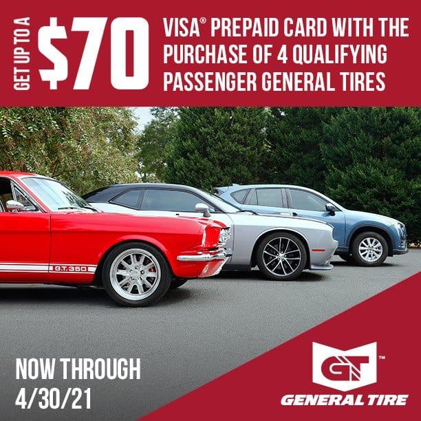 $70 General Tire Rebate ad